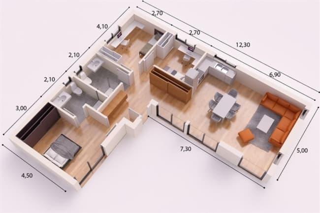 planta 3D de casa em L com 2 quartos