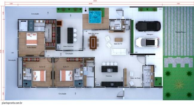 planta de casa grande com 3 suites