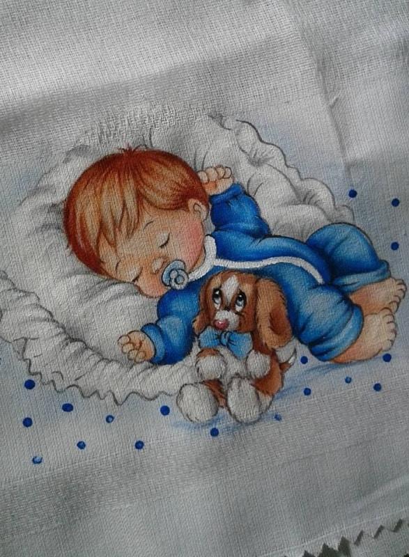pintura de bebe em fralda de algodao