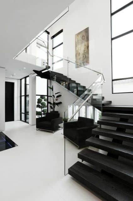 escada espinha de peixe em L moderna