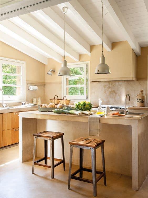 cozinha com ilha em cor areia