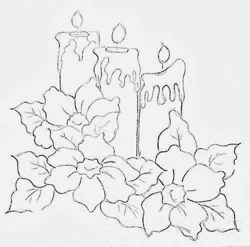 risco natalino com velas para pintura de tecido