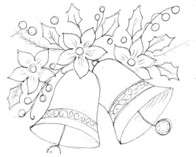 desenho de tema de natal para pintar pano de prato