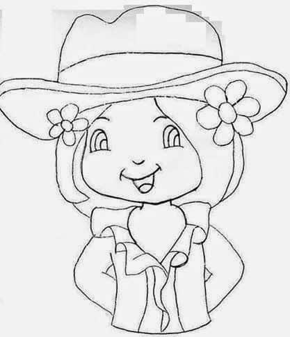 desenho de boneca para pintar pano