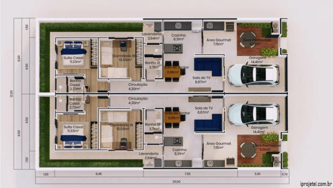 planta de casa geminada com suite