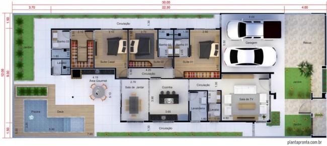 planta de casa grande com 3 quartos e garagem