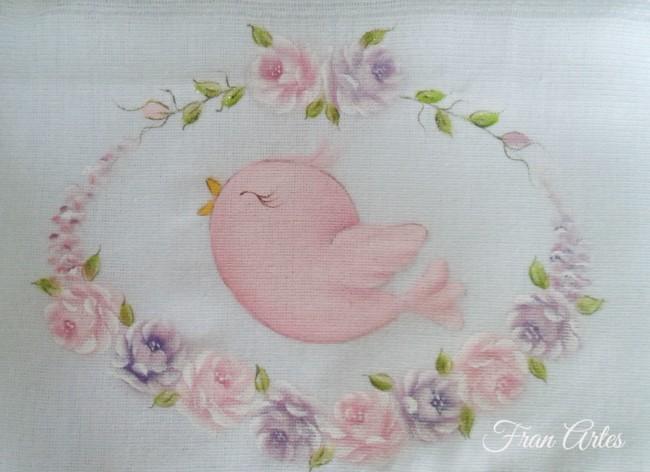 pintura em fralda com passarinho rosa