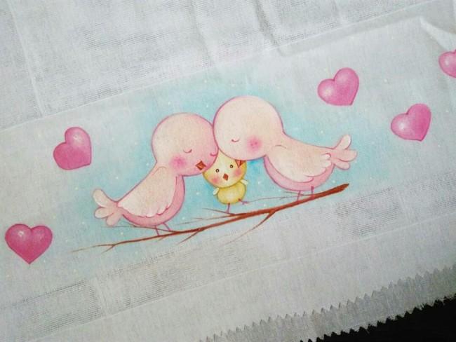 fralda pintada com passarinhos