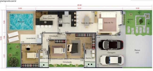 planta de casa grande com 3 quartos e piscina