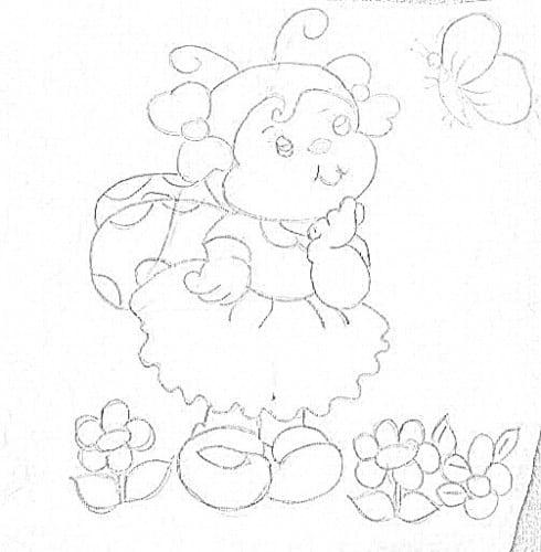 desenho de joaninha para riscar tecido