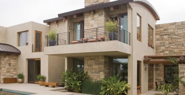 fachada de casa em cor areia