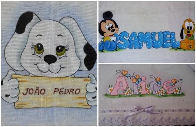 ideias de pintura em fraldas com nome