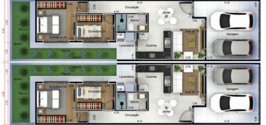 planta de casa geminada com 2 dormitorios