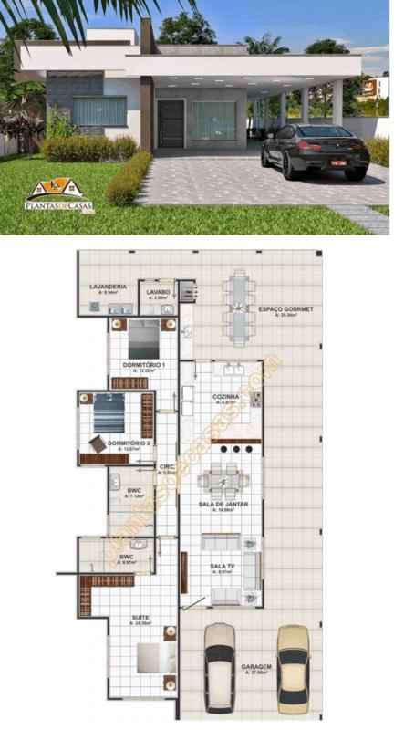 projeto de casa com 3 quartos
