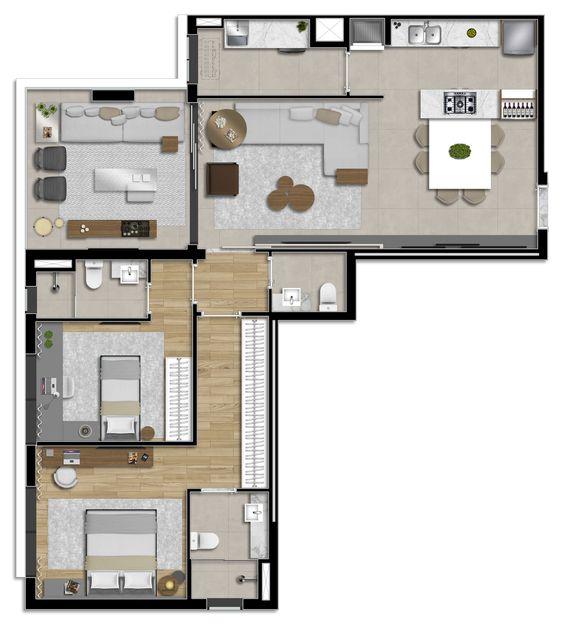 projeto de casa em L com 2 dormitorios