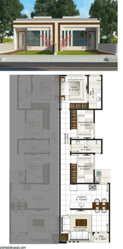 planta de casa geminada com 3 quartos e 70 m²