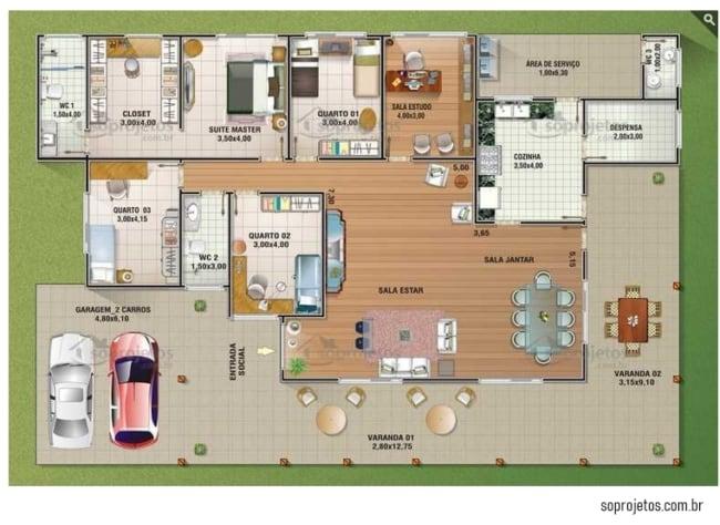 planta de casa terrea com 306 m² e 4 quartos