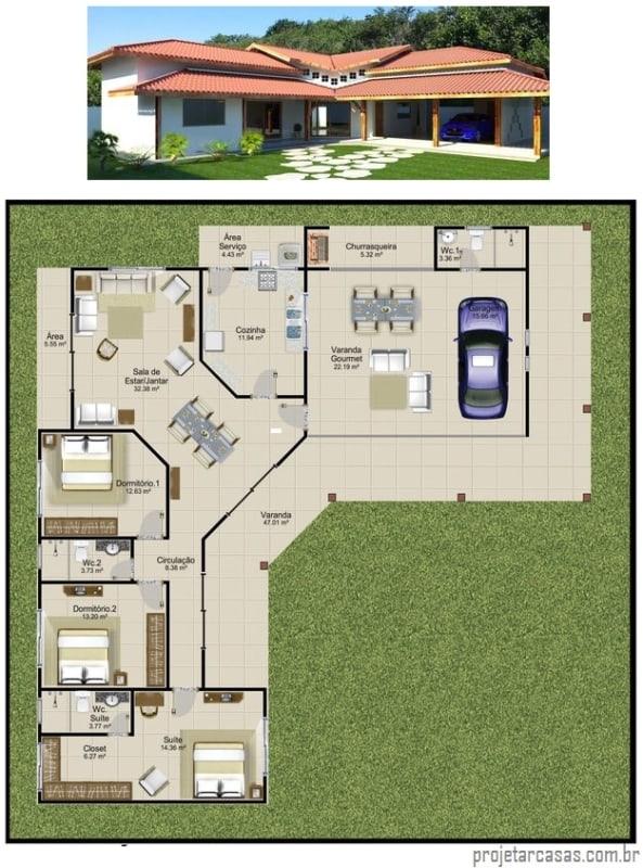 projeto de fachada e planta de casa em L com 3 quartos