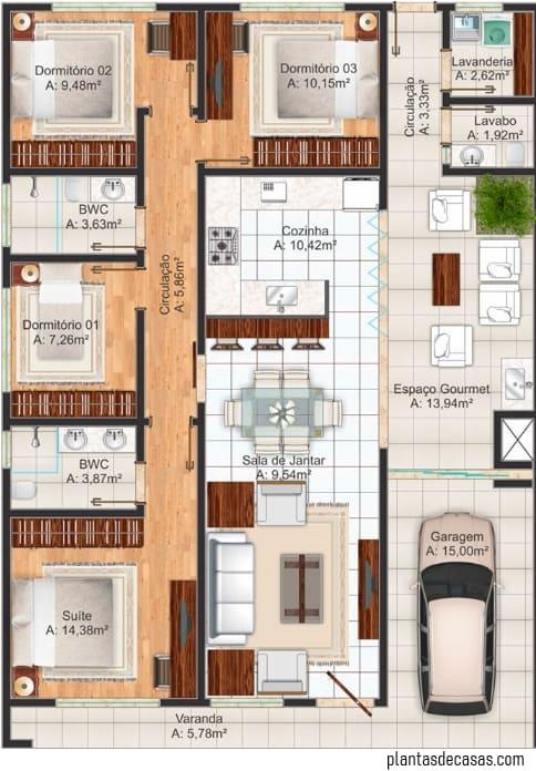 planta de casa grande com 4 quartos e garagem