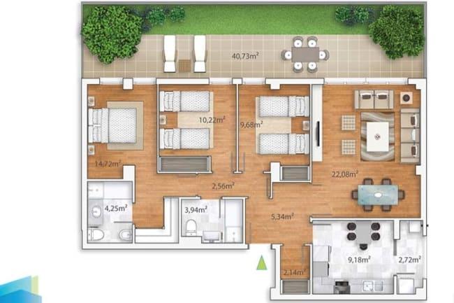 projeto de casa em L com 3 dormitorios