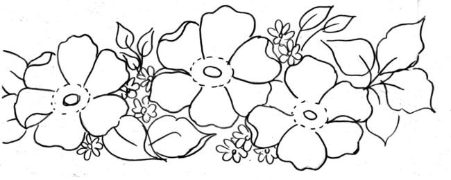 risco de flores para pintar tecido