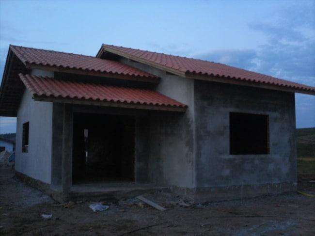 Casa rebocada com argamassa