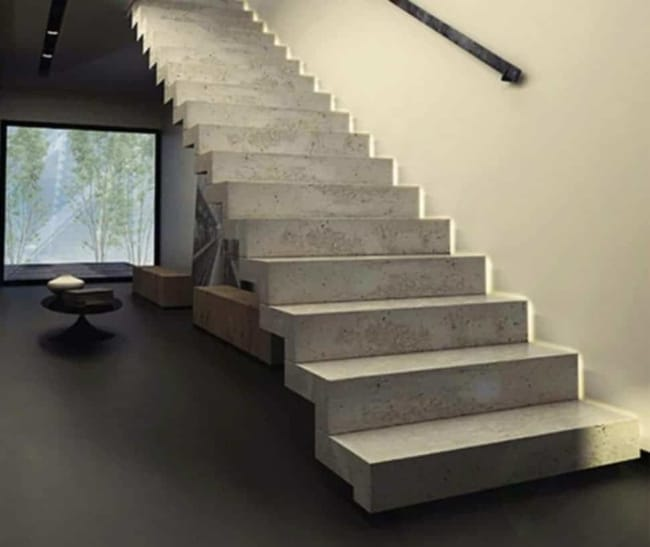 Escada de concreto plissada reta