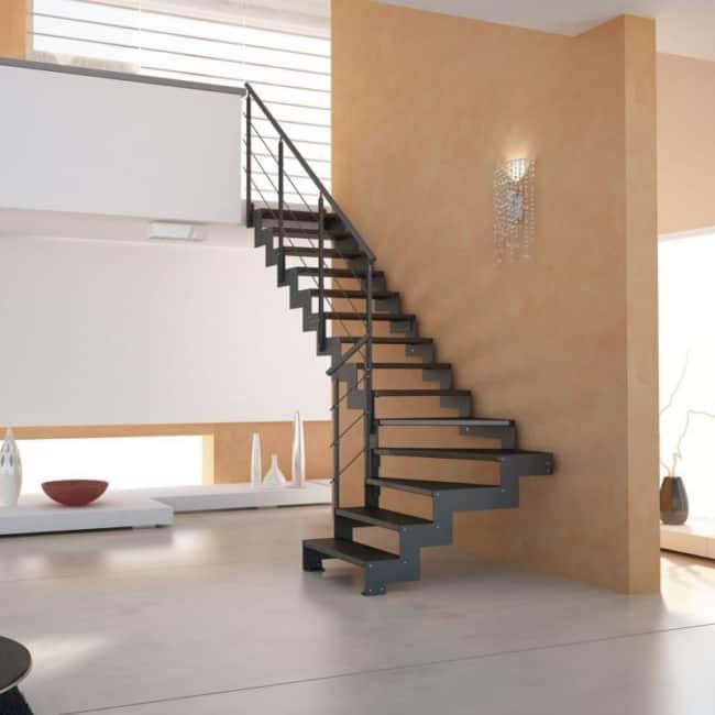 Escada em L de ferro modelo cascata