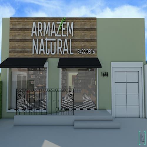 Fachada simples em madeira para loja natural