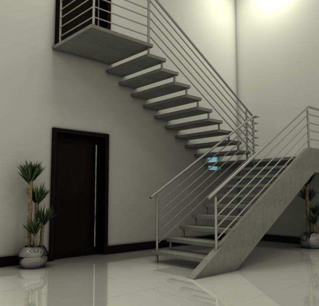 Modelo de escada em U no canto da parede