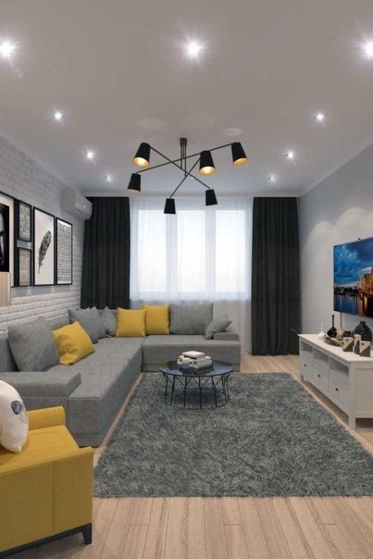 Sala decorada com parede branco gelo papel de parede de tijolo branco e estilo minimalista