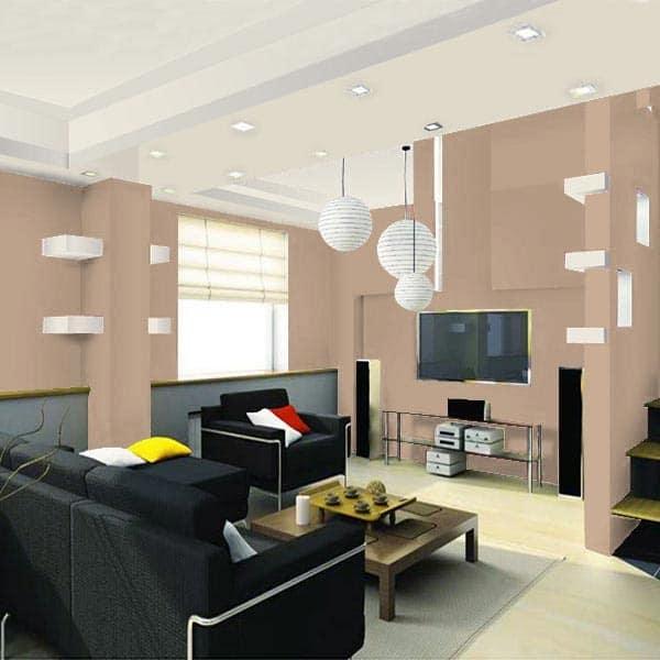 Sala projetada com parede camurca
