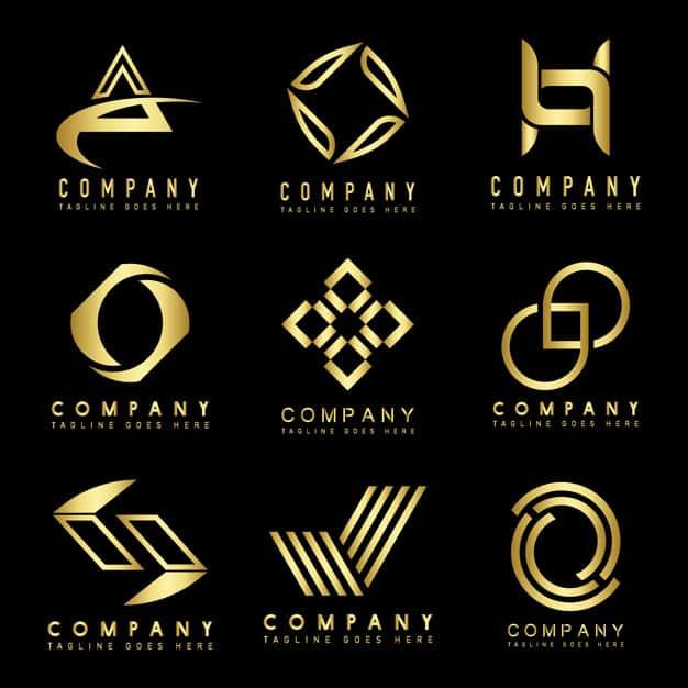 logos dourados para empresas de tecnologia