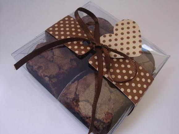 brownie em caixinha transparente de acetato