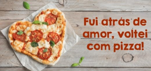 imagem de pizza com frase para redes sociais