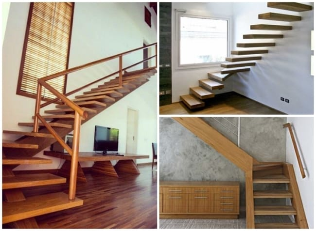 escada de madeira em L