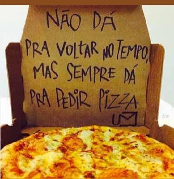 ideia de frase divertida de pizza