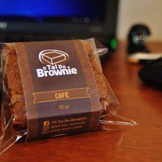 embalagem de brownie personalizada com a marca