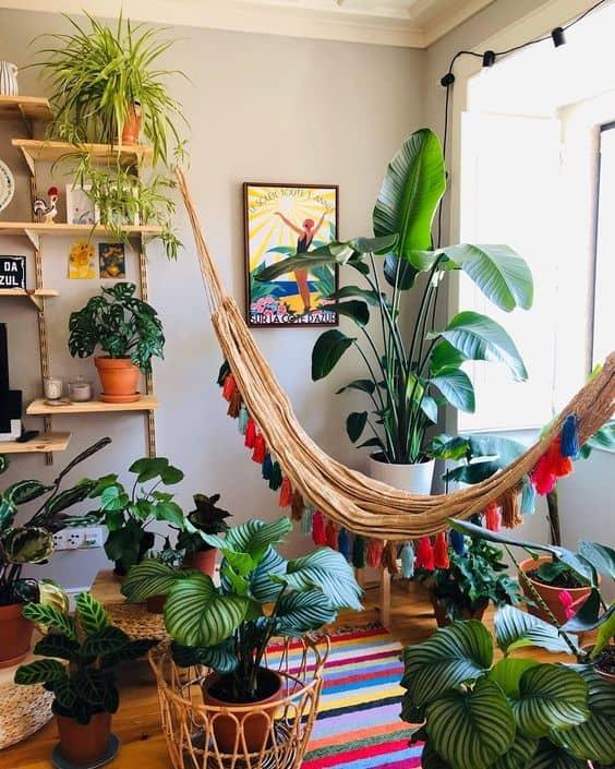 sala urban jungle com rede