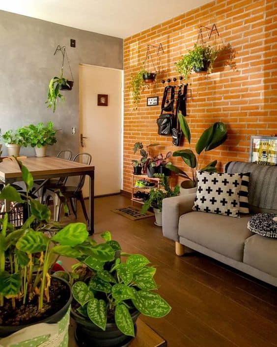 sala de estar e jantar urban jungle