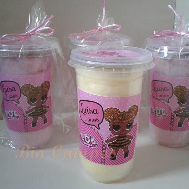 algodao doce no copo personalizado para festa LOL
