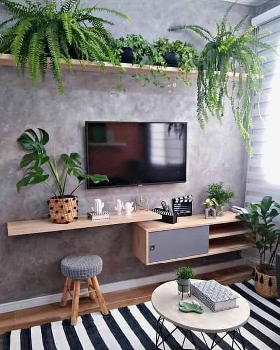 estilo urban jungle para sala de TV pequena