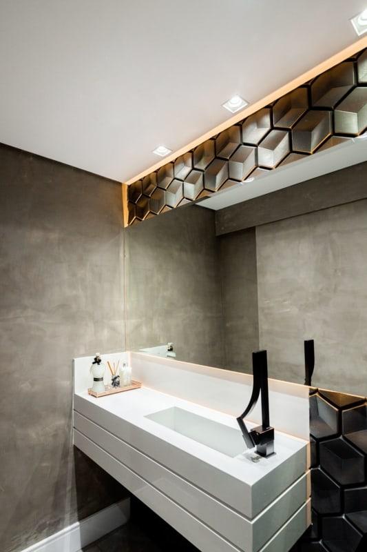 lavabo moderno com tinta cimento queimado