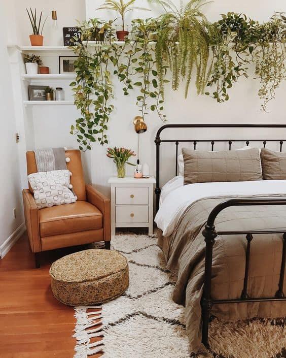 decoracao de quarto de casal estilo urban jungle