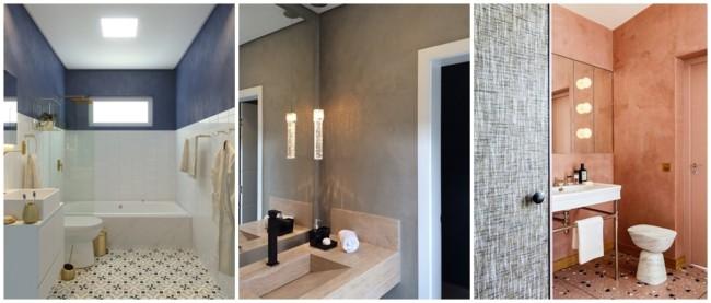 banheiro decorado com tinta cimento queimado
