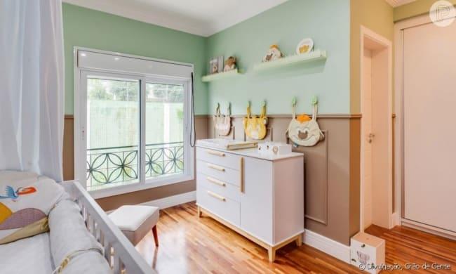 quarto de bebe verde e marrom