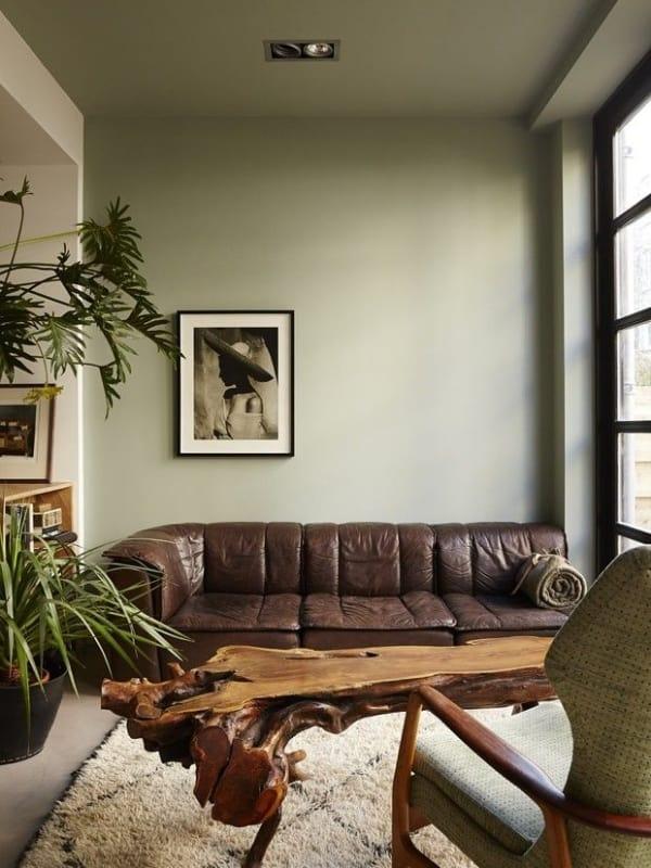sala com parede verde claro e sofa marrom