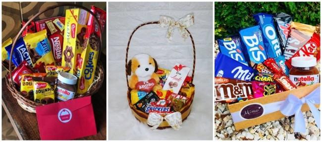 ideias do que colocar em cesta de chocolate