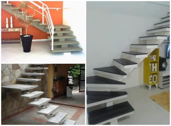 escada de concreto em L