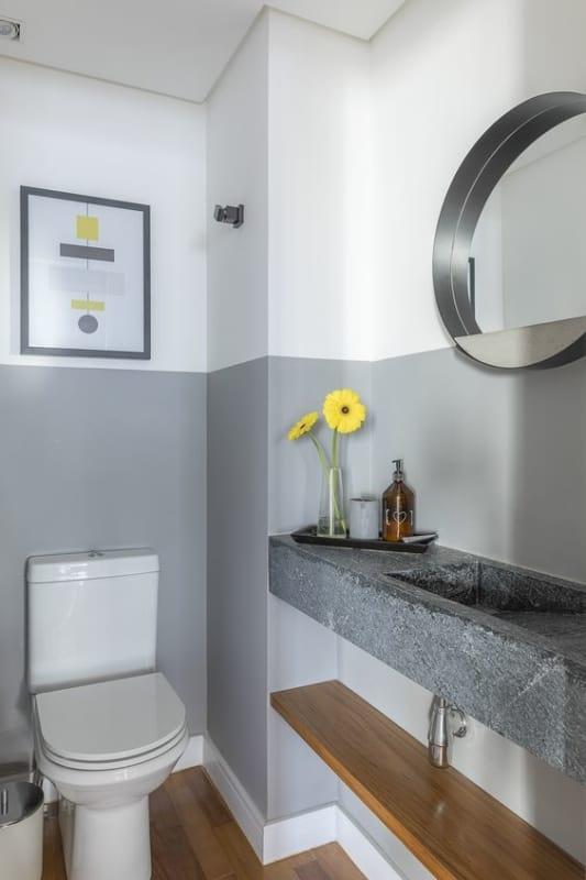 lavabo com meia parede cinza claro